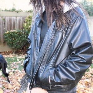 New Look Leather Jacket With Hood